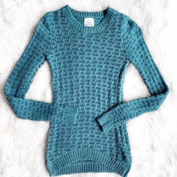 Between Me & You Sweaters - Between Me & You Teal Knit Sweater O0771